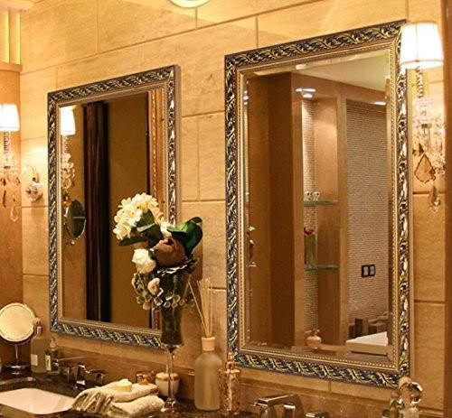 Family Deals Hans&Alice Decorative Large Wall Mounted Vanity Mirror with Baroque Style Wooden Frame for Bathroom, Antique Gold