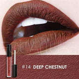 Family Deals Make up Deep Chestnut Exquisite, Long-lasting Matte & Glitter liquid lipstick with a luxurious hue.