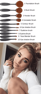 "Family Deals Make up ""Gold Oval Makeup Brush Set"" - Eyebrow, Foundation Cream, Powder, Blush Makeup Tools"