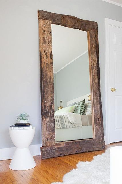 Rustic Reclaimed Wood Floor Mirror Family Deals