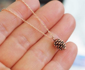 Family Deals Necklace Bronze Pine Cone Pendant Necklace
