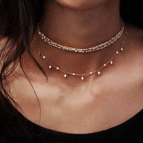 Family Deals Necklace Crystal encrusted Layering Droplet Choker (Gold or Silver) - Both Layers Available!