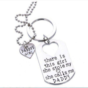 Family Deals Necklace Daddy's Girl EARL FATHER DAUGHTER MATCHING KEYCHAIN & HEART NECKLACE