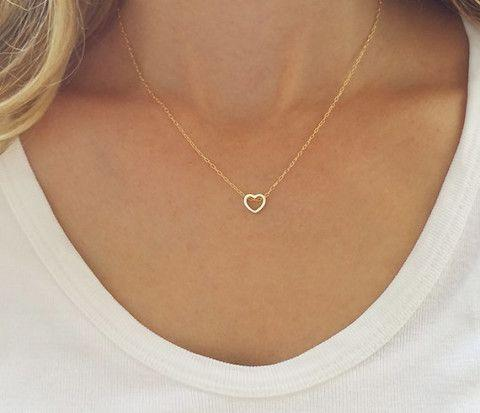 Quot Dainty Simple Heart Necklace Quot Gold Or Silver Family Deals