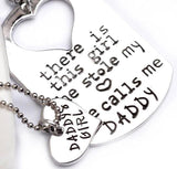 Family Deals Necklace EARL FATHER DAUGHTER MATCHING KEYCHAIN & HEART NECKLACE