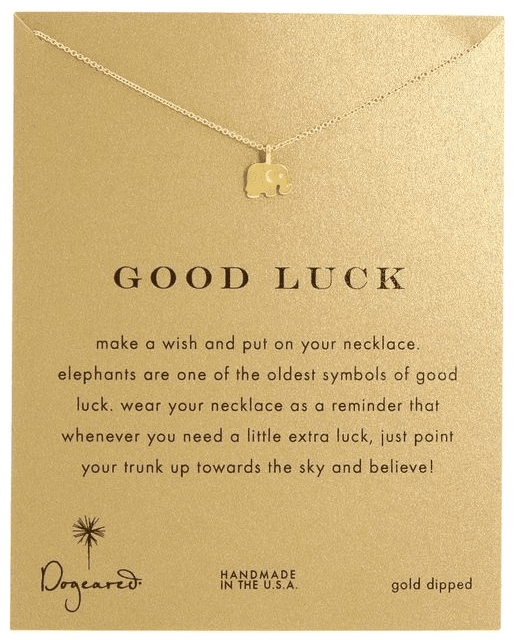 reminder gold dogeared dp jewelry pendant plated good com amazon necklace luck elephant silver sterling