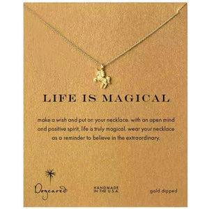 Family Deals Necklace Gold Dogeared Life is Magical Unicorn Necklace - Gold or Silver