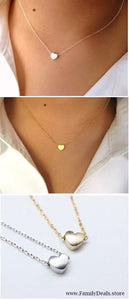 "Family Deals Necklace ""I Heart You"" Gold or Silver Heart Charm Choker Necklace"