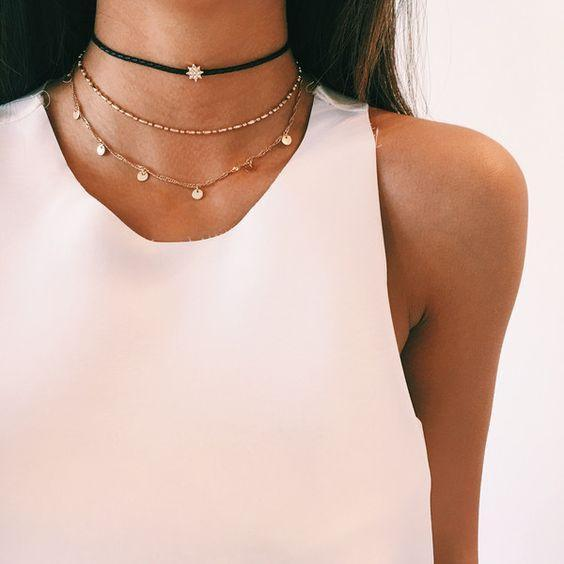 Family Deals Necklace Layered Dainty Gold and Velvet choker with encrusted crystals