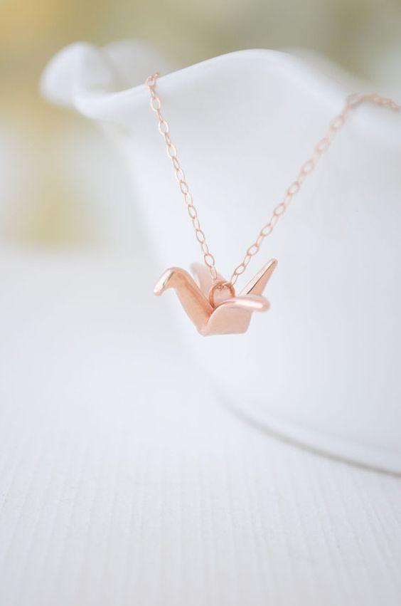 Family Deals Necklace Rose gold Silver or Rose Gold Origami Crane Necklace