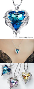 "Family Deals Necklace Select ""Oceans of Love"" - Guardian Angel Wing Set Swarovski Crystal Heart Necklace"
