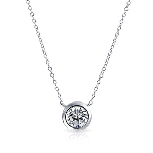 "Family Deals Necklace Gold ""Simple Elegance"" Delicate Solitaire .20 ct Crystal Necklace - Gold or Silver"