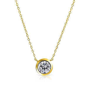 """Simple Elegance Delicate Solitaire .20 ct Crystal Necklace"" - Gold or Silver - Family Deals"