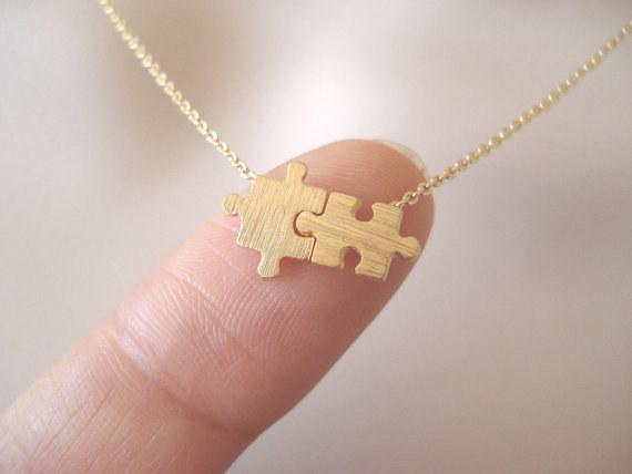 Family Deals Necklace Two pieces of a puzzle - Jigsaw pendant necklace