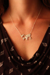 """World Map Pendant Necklace"" - Gold, Silver or Rose Gold - Family Deals"