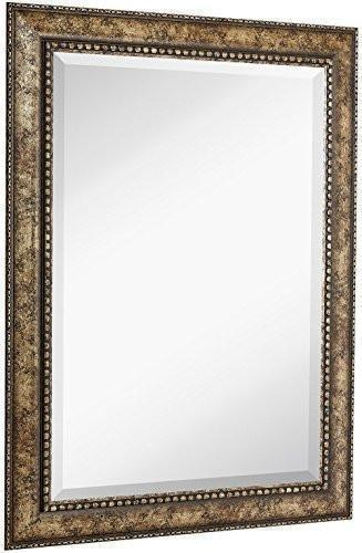 Family Deals NEW Large Embellished Transitional Rectangle Wall Mirror | Luxury Designer Accented Frame | Solid Beveled Glass| Made In USA | Vanity, Bedroom, or Bathroom | Hangs Horizontal or Vertical 30