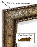 "Family Deals NEW Large Embellished Transitional Rectangle Wall Mirror | Luxury Designer Accented Frame | Solid Beveled Glass| Made In USA | Vanity, Bedroom, or Bathroom | Hangs Horizontal or Vertical 30"" x 40"""