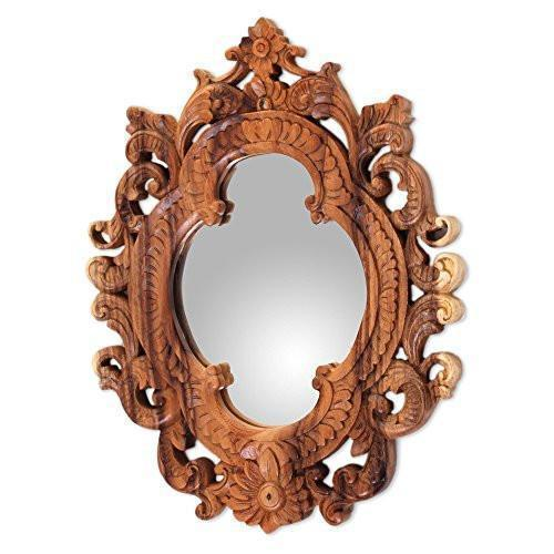 Family Deals NOVICA Natural Suar Wood East Meets West Hand Carved Wall Mirror From Indonesia 'Mataram Rococo'