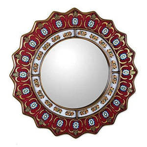 Family Deals NOVICA Red Reverse Painted Glass Wood Framed Decorative Star Wall Mirror From Peru 'Ruby Medallion' (large)