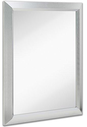 Family Deals Premium Rectangular Brushed Nickel Wall Mirror | Contemporary Metal Frame Silver Backed Mirrored Glass | Vanity, Bedroom or Bathroom | Rectangle Hangs Horizontal or Vertical (24