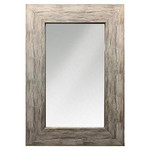Family Deals Raphael Rozen - Modern - Classic - Vintage - Hanging Framed Wall Mounted Mirror, Distressed Wood Finish, Gray - White Color