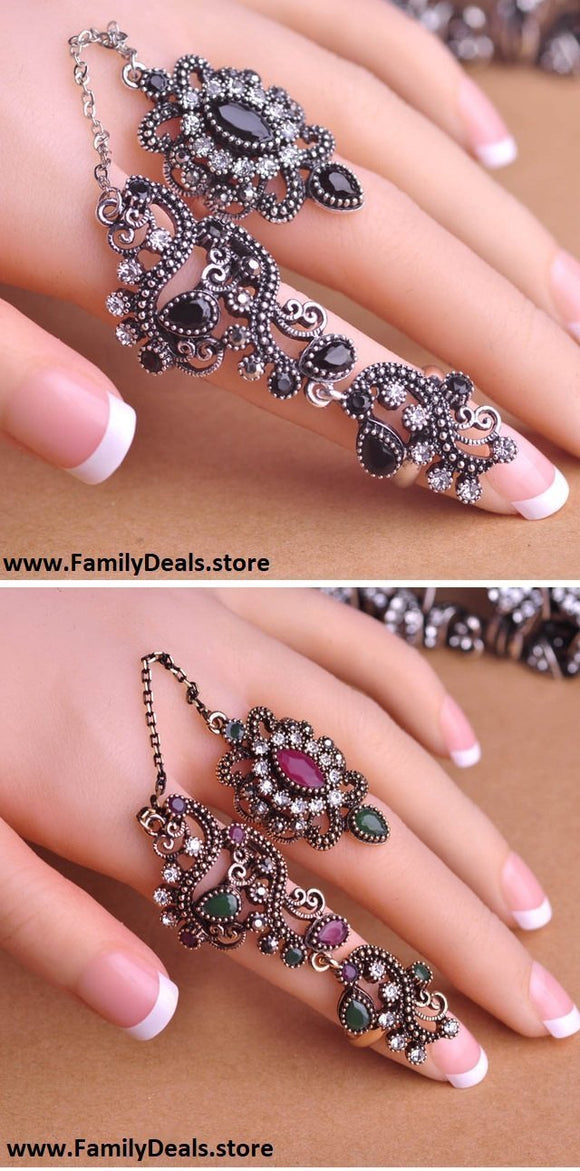 Family Deals Ring Beautiful Flower Gold or Silver Finger Stacking rings with link chain