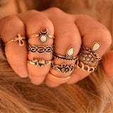 Family Deals Ring Gold VINTAGE BOHO 10-PIECE STACKING RING SET