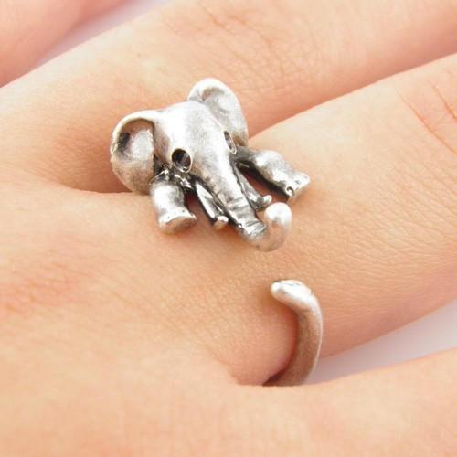 Family Deals Ring Resizable / Antique Silver Plated Cute Vintage Retro Elephant Ring