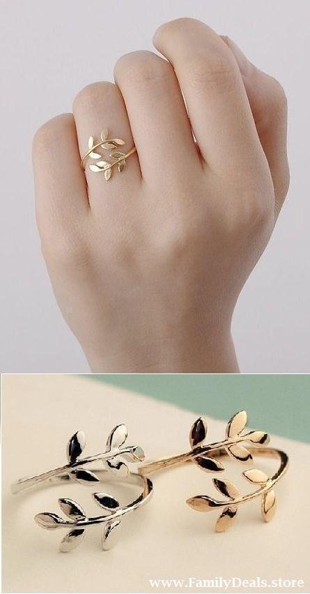 Family Deals Ring Silver or Gold Leaf Ring, Olive branch Ring.