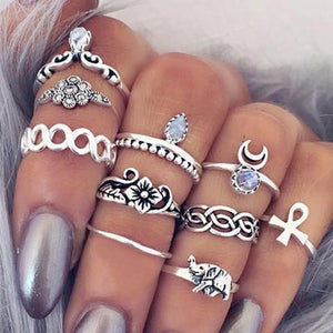 Family Deals Ring Silver VINTAGE BOHO 10-PIECE STACKING RING SET