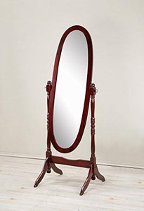 Family Deals Roundhill Furniture Traditional Queen Anna Style Wood Floor Cheval Mirror, Cherry Finish
