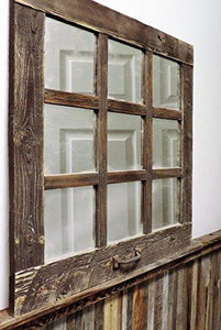 Family Deals Rustic Barnwood Window Mirror 24 X 24 (9 pane)