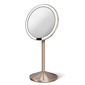 Family Deals simplehuman 5 inch Sensor Mirror, Lighted Makeup Mirror, 10x Magnification, Stainless Steel (Rose Gold)