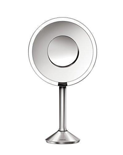 Family Deals simplehuman Sensor Mirror Pro, 8 inch Round Lighted Makeup Mirror, 5x Magnification, Adjustable Color Temperature, Wifi-Enabled