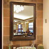 "Family Deals The Spring Deal! 32""x24"" Large Rectangular Wall Mounted Mirror, Double-way Hanging, Vintage Brown"