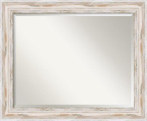 Family Deals Wall Mirror Large, Alexandria White Wash Wood: Outer Size 33 x 27