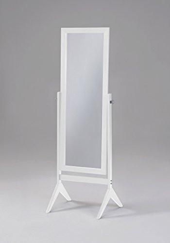 Family Deals White Finish Wooden Cheval Bedroom Free Standing Floor Mirror (Cheval White) by eHomeProducts
