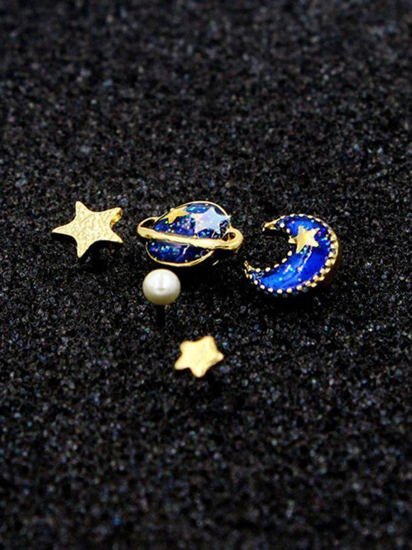 Blue Star, Moon And Planet Rhinestone Earrings - Family Deals