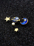FamilyDeals Earrings Blue Star, Moon And Planet Rhinestone Earrings