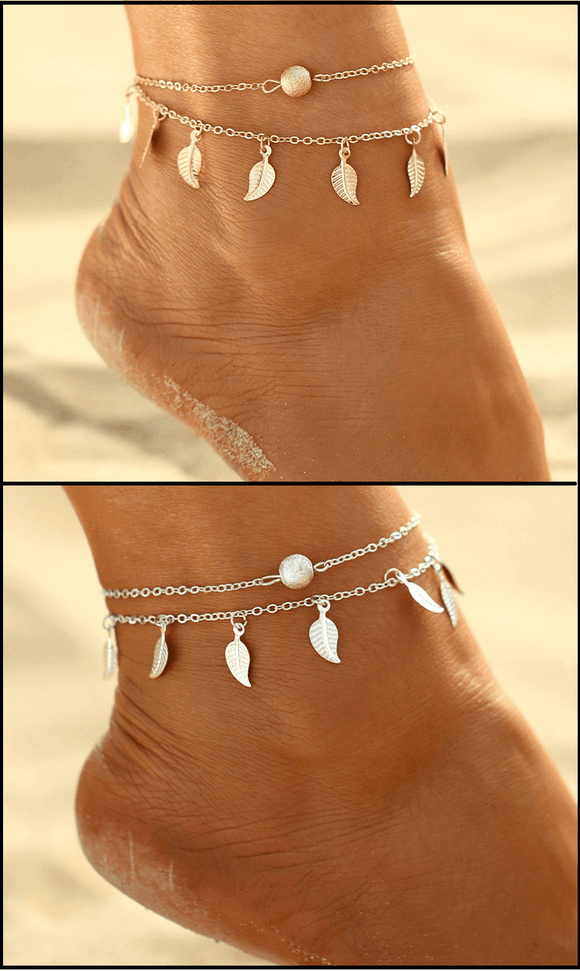 FamilyDeals Necklace Golden or Silver  leaf tassel double anklet