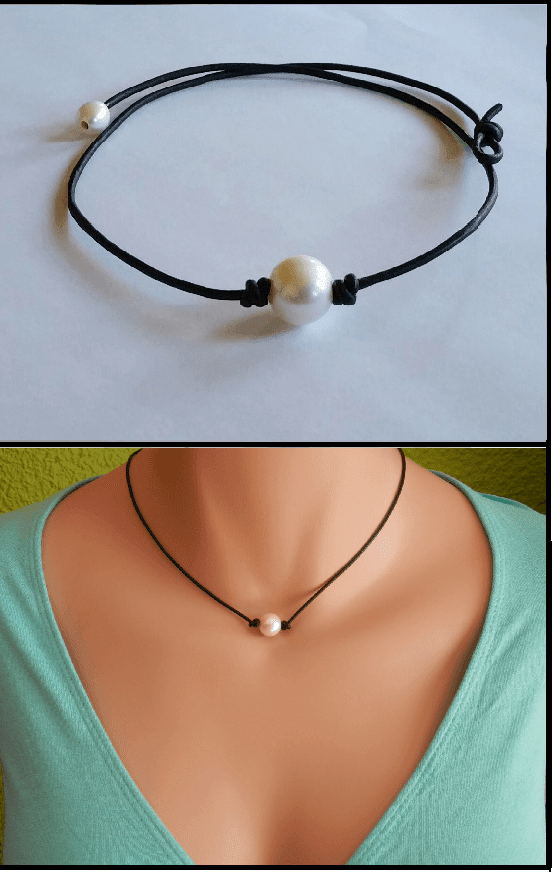FamilyDeals Necklace High Quality Freshwater Pearl and Leather Necklace/choker