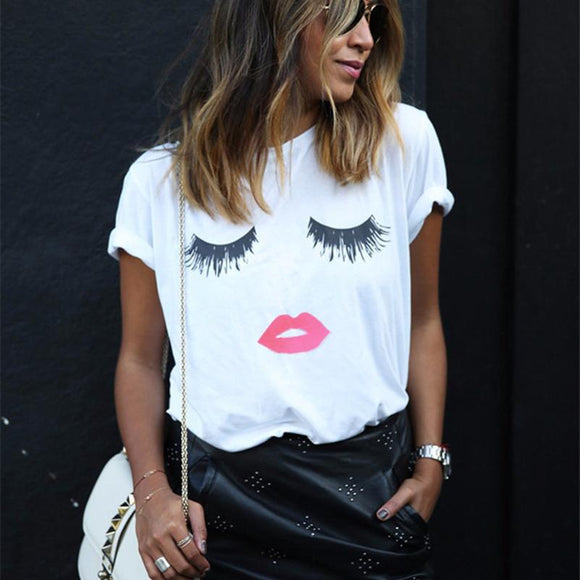 Stylish Women's Summer Lip and Eyelash Print Short Sleeve Tee - Family Deals