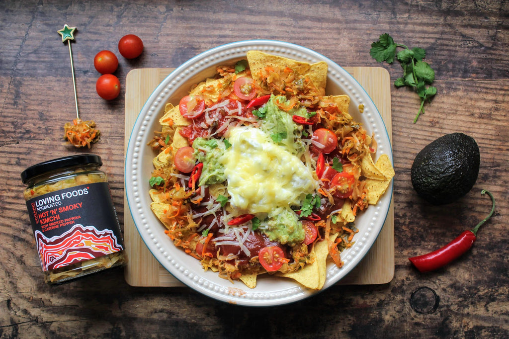 Nachos with Loving Foods Organic Hot 'N' Smoky Kimchi