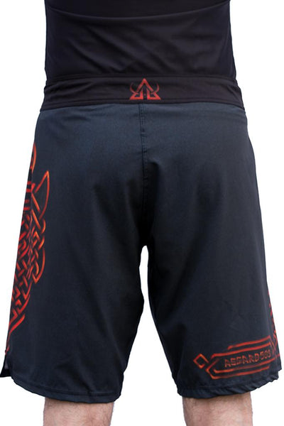 red mma training shorts jiujitsu