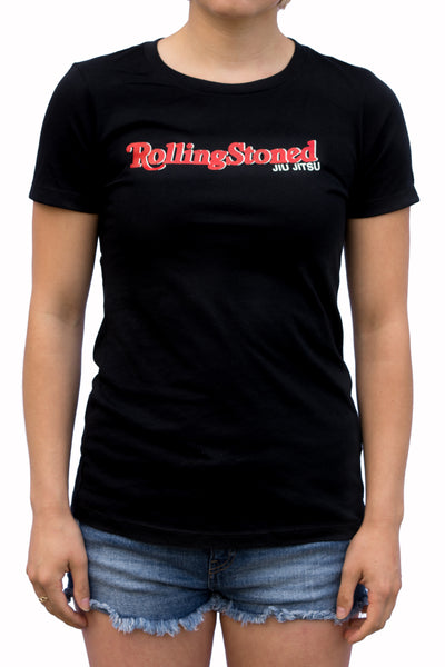 Womens - Rolling Stoned  - Jiu Jitsu- Black - T-Shirt