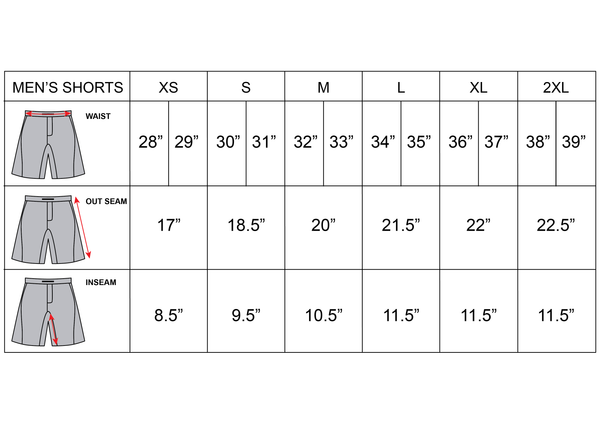 Shorts Sizing Chart Gold and Brown For Fitness,Training,Athlete size chart