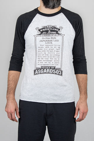 Leg Lock - White/Grey - Baseball T-Shirt