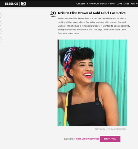 Kristen Elise Brown featured in Essence Magazine's website as the Beauty Entrepreneur you have to meet!