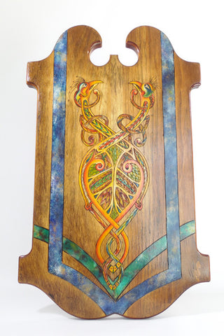 "Wooden Shield ""Celtic Peacocks"""