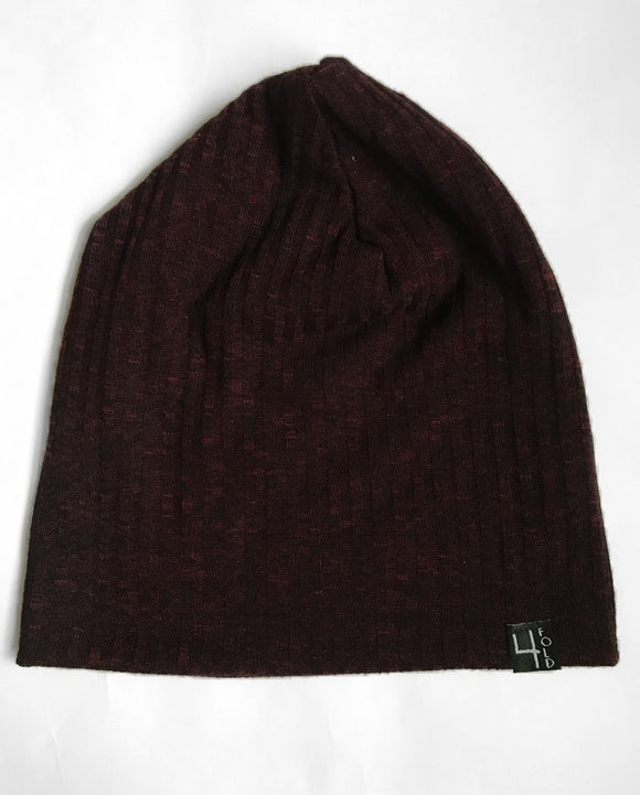 Maroon Ribbed Knit Slouchie Beanie